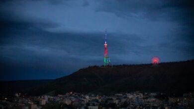 Photo of برج تلویزیون تفلیس، پایتخت گرجستان با رنگ پرچم آذربایجان مزین شد