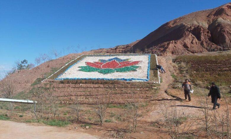 Təbri̇zdə Azərbaycan bayrağının rəngləri̇nə boyanan çəmən təhri̇f olunub • Aznews TV